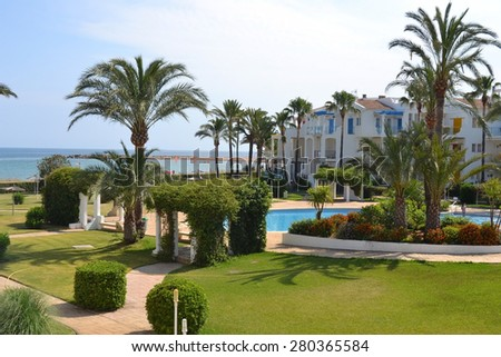 Spain. The province of Alicante. Denia. The territory of the coastal hotel.