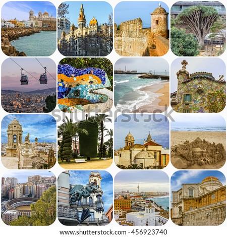Spain travel collage - Spanish landmarks: Barcelona, Cadiz, Malaga - stock photo