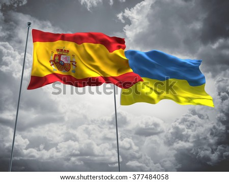 Spain & Ukraine Flags are waving in the sky with dark clouds