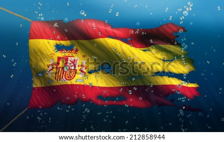 Spain Under Water Sea Flag National Torn Bubble 3D