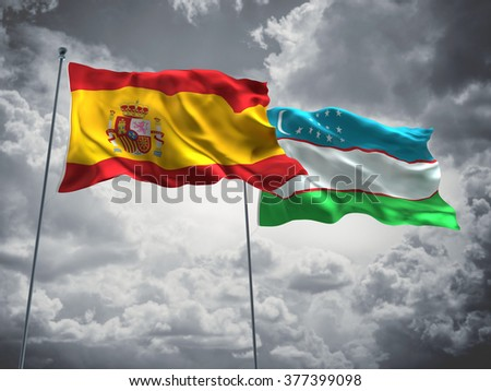 Spain & Uzbekistan Flags are waving in the sky with dark clouds
