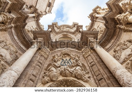 Spain, Valencia. Detail of the Cathedral - Basilica of the Assumption of Our Lady of Valencia - stock photo