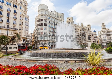 Spain, Valencia. Panorama of Plaza de Ayuntamiento - stock photo