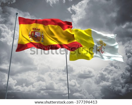 Spain & Vatican Flags are waving in the sky with dark clouds