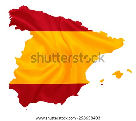 Spain - Waving national flag on map contour with silk texture
