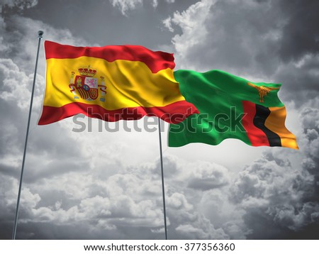 Spain & Zambia Flags are waving in the sky with dark clouds