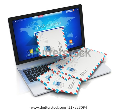 Spam and junk mail concept: heap of letters in envelopes falling from screen of modern metal office laptop or silver business notebook isolated on white background with reflection effect - stock photo