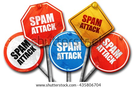 spam attack, 3D rendering, rough street sign collection - stock photo