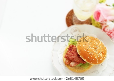 Spam burger with sausage for Hawaiian food image