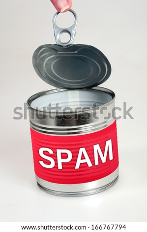Spam word on food can - stock photo