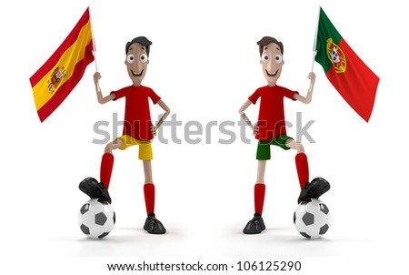 Spanish and Portuguese Smiling cartoon style soccer player with ball and Spain flag