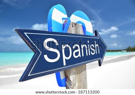 Spanish arrow on the beach - stock photo