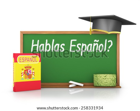 Spanish book with a flag and a chalk board on which is written - Do you speak in Spanish? - stock photo