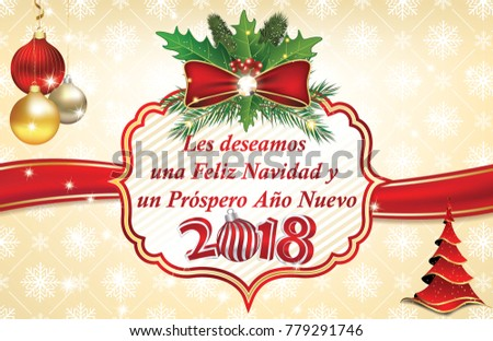 Spanish business merry christmas happy new stock illustration spanish business merry christmas and a happy new year 2018 greeting card with text written m4hsunfo