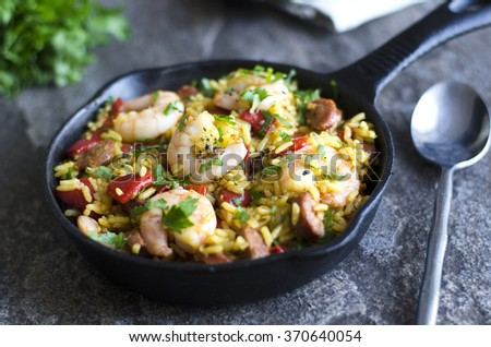 Spanish cauli rice with chorizo and prawns