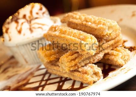 Spanish Churro Dessert Plate - stock photo