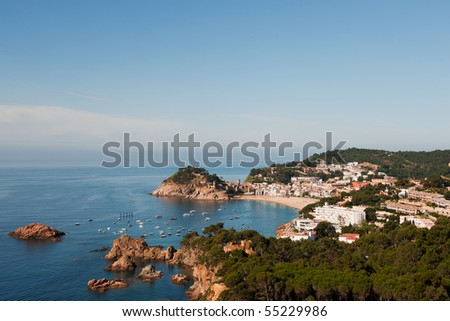 Spanish coast at the Costa Brava with village Tossa de Mar