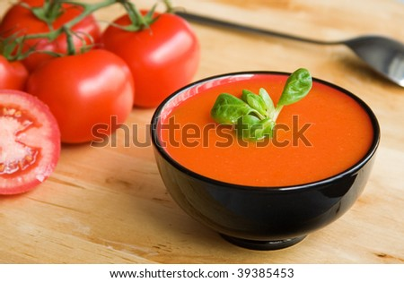 Spanish cold tomato-based soup gazpacho, originating in the southern region of Andalusia - stock photo