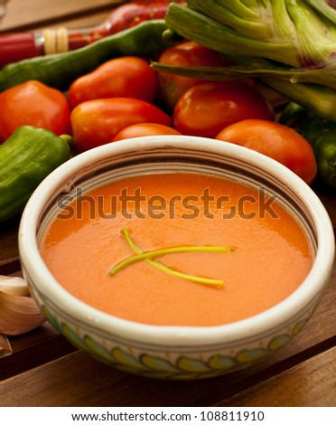 Spanish cold tomato based soup gazpacho served in a bowl - stock photo