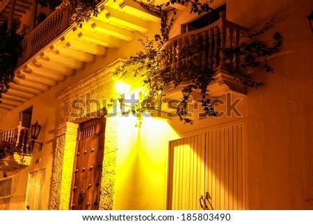 Spanish colonial house. Cartagena de Indias, Colombia's Caribbean Zone - stock photo