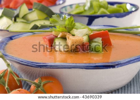 Spanish Cuisine. Gazpacho. Andalusian cold soup served in a ceramic bowl. Selective focus. - stock photo