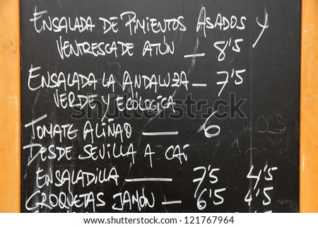 Spanish cuisine menu at an outdoor restaurant in Santa Cruz de Tenerife, Canary Islands, Spain - stock photo