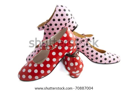 Spanish dotted red white pink black shoes isolated over white