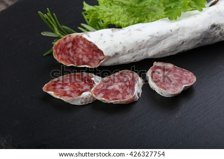 Spanish dry salami sausage Fuet with rosemary - stock photo