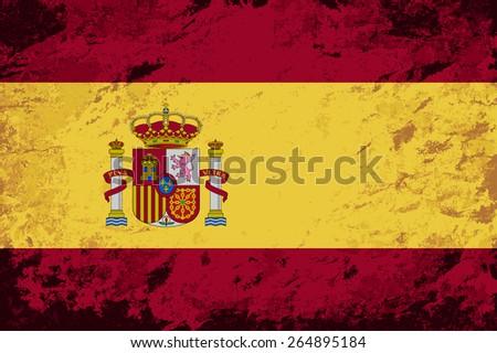 Spanish flag Grunge background. Raster version - stock photo