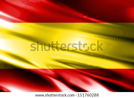 Spanish flag waving in the wind with some folds - stock photo