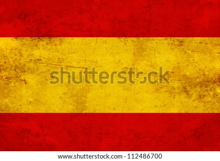 Spanish flag with a vintage and old look - stock photo