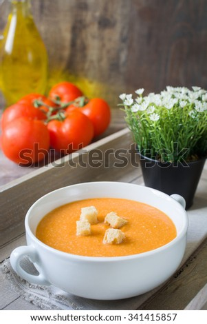 Spanish food. Gazpacho with tomato,garlic, cucumber and pepper