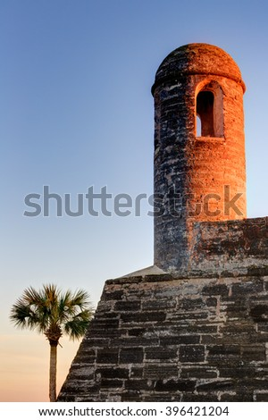 Spanish fort surrounded by late afternoon light in St - stock photo