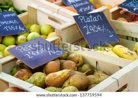 Spanish fruit market - stock photo