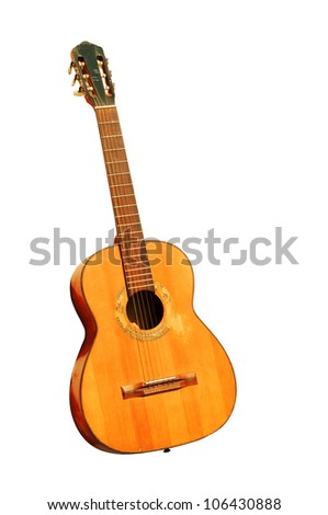 spanish guitar isolated vertical - stock photo