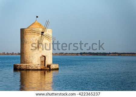 Spanish mill in the lagoon of Orbetello (close up)