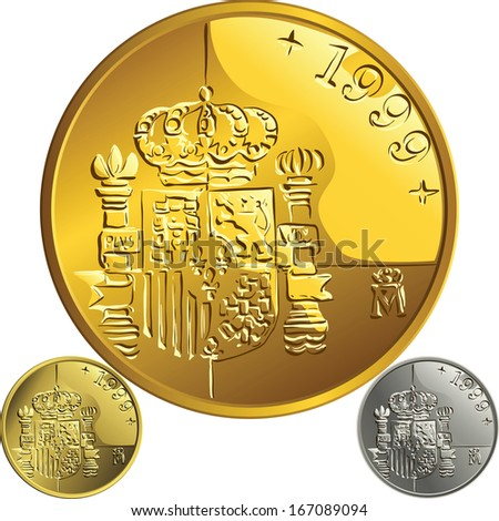 Spanish money peseta gold and silver coin with the Spanish coat of arms