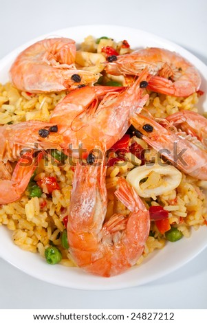 spanish paella - stock photo
