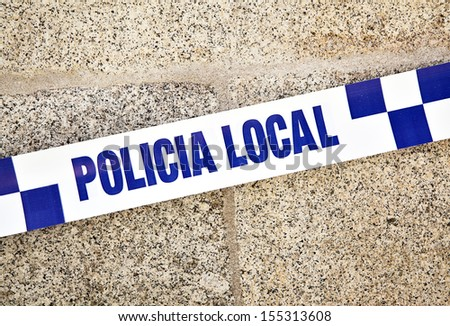 Spanish police line close-up - stock photo