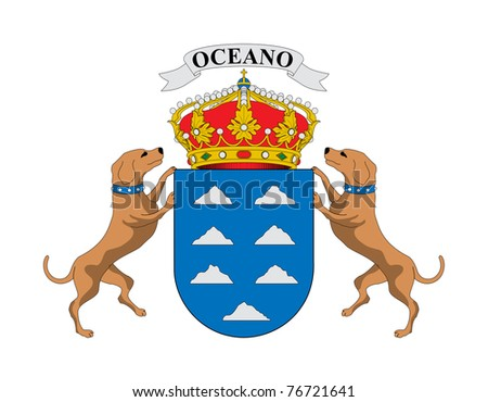 Spanish province of Canary Islands coat of arms; isolated on white background.