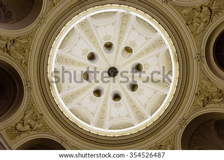 Spanish Riding School ornamented ceiling. Vienna, Austria on 13 November 2015