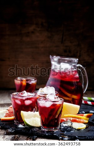 Spanish sangria with fruit and ice, selective focus - stock photo