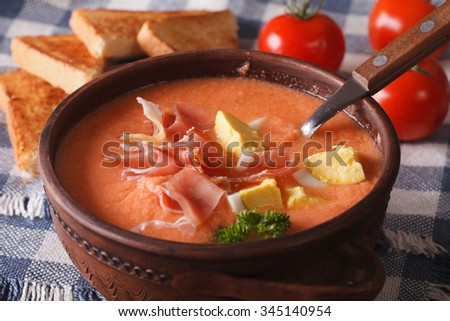 Spanish soup salmorejo with ham and eggs close-up in a bowl. horizontal