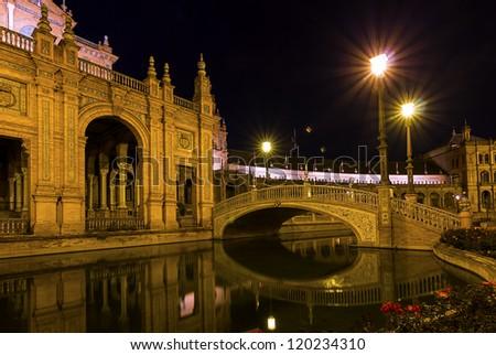 Spanish Square at night in Sevilla, Spain. - stock photo