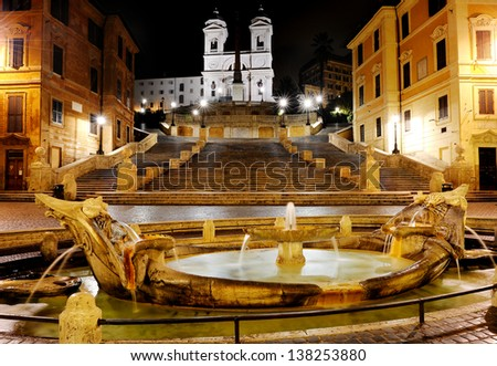 Spanish square,Fountain of the old boat and Spanish steps by night, Rome, Italy - stock photo