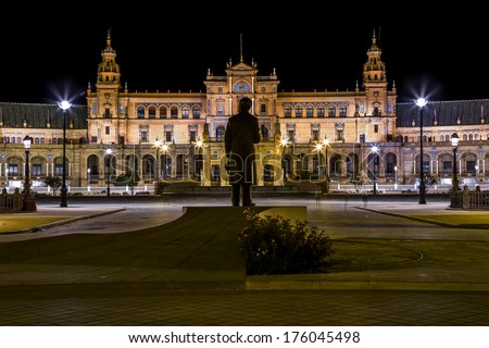 Spanish Square (Plaza de Espana) in Sevilla at night, Spain.  - stock photo