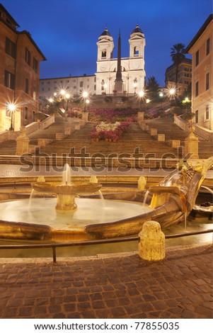 "Spanish Steps and ""Trinità dei Monti"" in Rome, Italy, at dusk - stock photo"