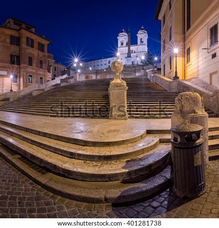 Spanish Steps and Trinita del Monti Church in the Morning, Rome, Italy - stock photo