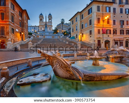 Spanish Steps at dusk in Rome, Italy - stock photo