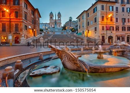 Spanish Steps at dusk, Rome, Italy - stock photo